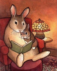 Mama Bunny and Baby Bunny Reading